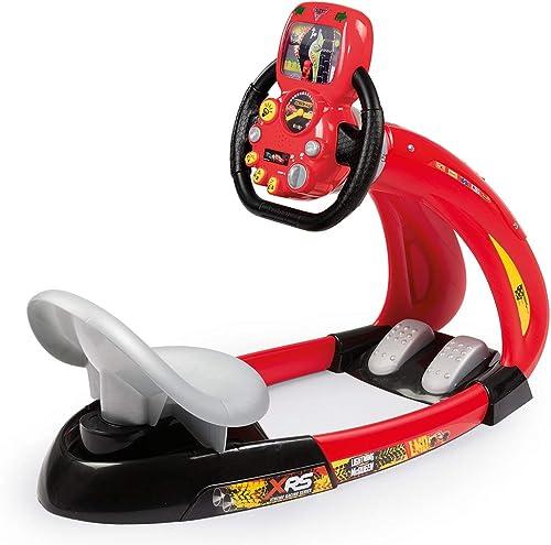 Smoby- voitures XRS V8 Driver Simulateur de Conduite, 370215, Rouge Noir