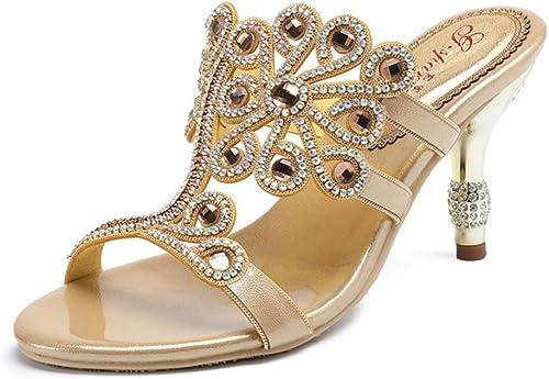 SASA Chaussures à Talons Hauts d'été Strass T-Type Strap Femmes Diamants à Talons Hauts Toe Round Rounds, oren, US10.5 EU42 UK8.5 CN43