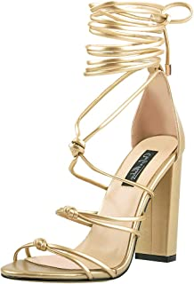 Womens Gladiator Lace up Chunky High Heel Sandals Open Toe Ankle Strap Casual Dressing Outdoor Shoes with Knot