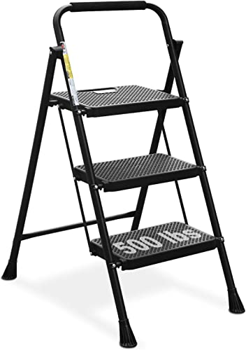 HBTower 3 Step Ladder, Folding Step Stool with Wide Anti-Slip Pedal, 500lbs Sturdy Steel Ladder, Convenient Handgrip,...