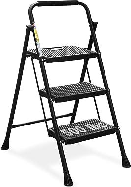 HBTower 3 Step Ladder, Folding Step Stool with Wide Anti-Slip Pedal, 500lbs Sturdy Steel Ladder, Convenient Handgrip, Lightwe