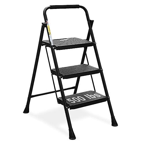 HBTower 3 Step Ladder, Folding Step Stool with Wide Anti-Slip Pedal, 500lbs Sturdy Steel Ladder, Convenient Handgrip, Lightweight, Portable Steel Step Stool, Black