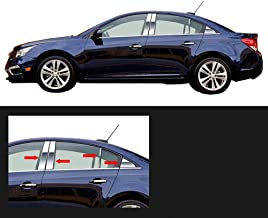 Made in USA! Works with 2011-2015 Chevrolet Cruze 8PC Stainless Steel Chrome Pillar Post Trim