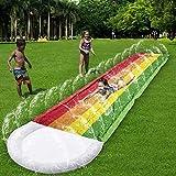 Ahirawin 2021 PremiumSplash and Slide,RainbowWaterSlidesSlipping Splash and Slide for Backyard SlidingLongRacing Lanes &2Sprinklers,Durable Heavy DutyQuality PVCOutdoorWaterslides