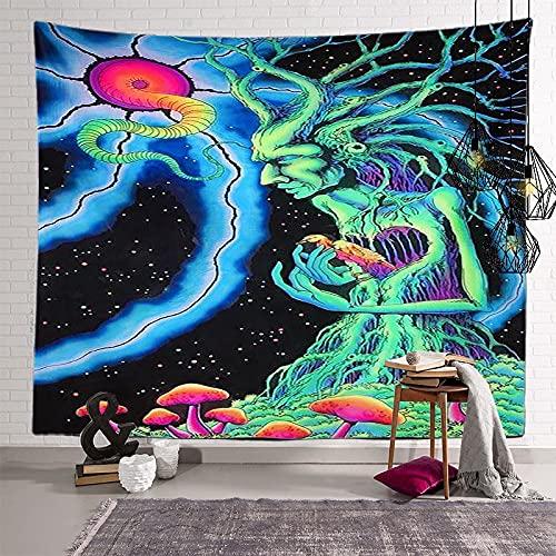 KHKJ Tapiz de Mandala de Hongos, cabecero de Pared, Colcha de Arte, Tapiz de Dormitorio para Sala de Estar, Dormitorio, decoración del hogar A20 95x73cm