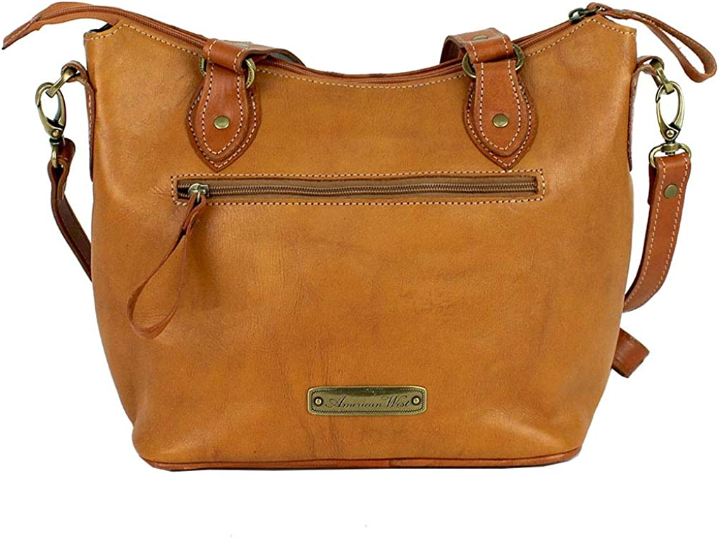 American West Leather - Sac à main à bandoulière Hobo Porte-monnaie Golden Tan- Lady Lace