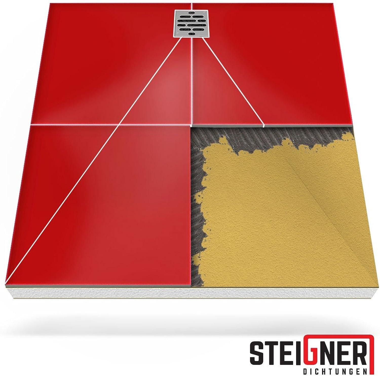 Duschelement MINERAL PROFI 2.Pos Duschboard befliesbar 100x110 cm DEZENTRALER Punkt Ablauf WAAGERECHT - EPS Bodenelement ebenerdig barrierefreie Duschwanne bodengleich