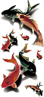 TAFLY Waterproof Fake Tattoo Stickers 3D Colorful Fish Water Transfer Temporary Tattoo 5 Sheets