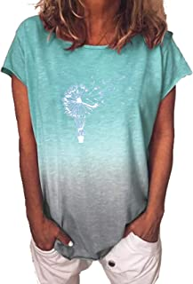 Camiseta con Estampado De Gradiente De ArcoíRis De Verano para Mujer, Cuello Redondo, Manga Corta
