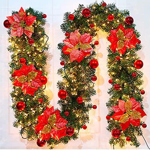 Guirlande de NoëL avec Lumières LED,270 cm 40 LED Blanc Chaud Guirlande Sapin Noel Artificiel Guirlande de Décoration de Noël pour la Décoration Intérieure Cheminées Escaliers Porte