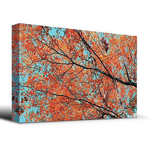 wall26 Orange leaves on tree branches - Canvas Art Home Decor - 24x36 inches