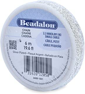 Beadalon 2.3mm Jewelry Making Chain, 6m, Small Cable, Silver Plated
