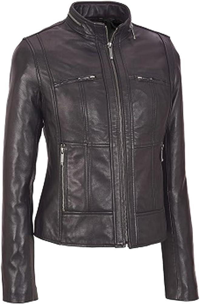 SleekHides Women's Fashion Leather Slim Fit Moto Jacket