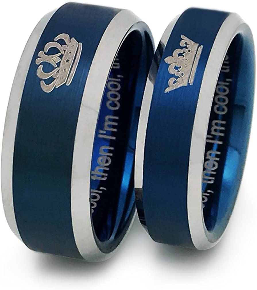 New mail order Kriskate Co. King and Queen Coupl Personalized Tungsten Ranking TOP2 Rings