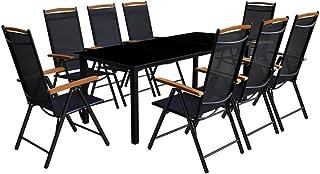 pedkit Comedor de jardín con sillas Plegables 9 Piezas Conjunto de Mesa sillas,Mesa Salón y Sillas,Muebles de Jardin Exterior Conjuntos Aluminio Negro