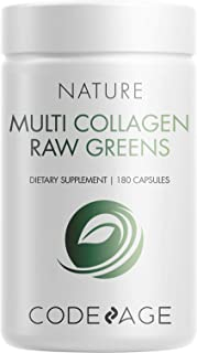 Codeage Multi Collagen Protein Capsules + Organic Greens Superfood - Fruits & Vegetables Pills Supplement - Grass Fed Coll...