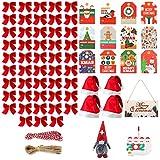 Migaven 48 Mini Lazos Regalo Y 4 Gorro De Papá Noel, 1Adorno De Árbol De Navidad De Papá Noel, 96 Tarjetas De Etiquetas Colgantes, 1 Familia De 4 Adornos, 1 Letrero Colgante De Madera