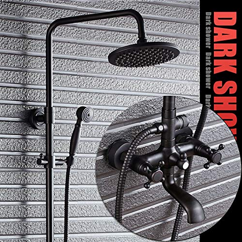 DKEE Equipo de Ducha Sistema De Ducha De Baño Conjunto De Grifo De Ducha De Cobre Negro Y Cobre Negro Bronce