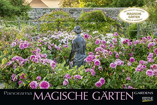 Magische Gärten 2021: Großer Foto-Wandkalender mit Bildern von verwunschenen Gärten. Edler schwarzer Hintergrund.PhotoArt Panorama Querformat: 58x39 cm.