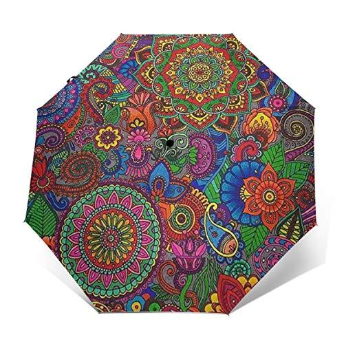 Paisley Pattern Windproof Travel Umbrella, Compact Umbrella Lightweight Portable Sun Rain Umbrella, Ergonomic Handle, Auto Open Close