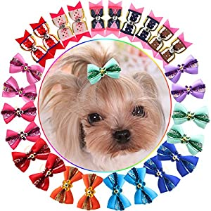 YOY 24PCS / 12 Pairs Adorable Grosgrain Ribbon Pet Dog Hair Bows with Rubber Bands – Puppy Topknot Cat Kitty Doggy Grooming Hair Accessories Bow Knots Headdress Flowers Set for Groomer