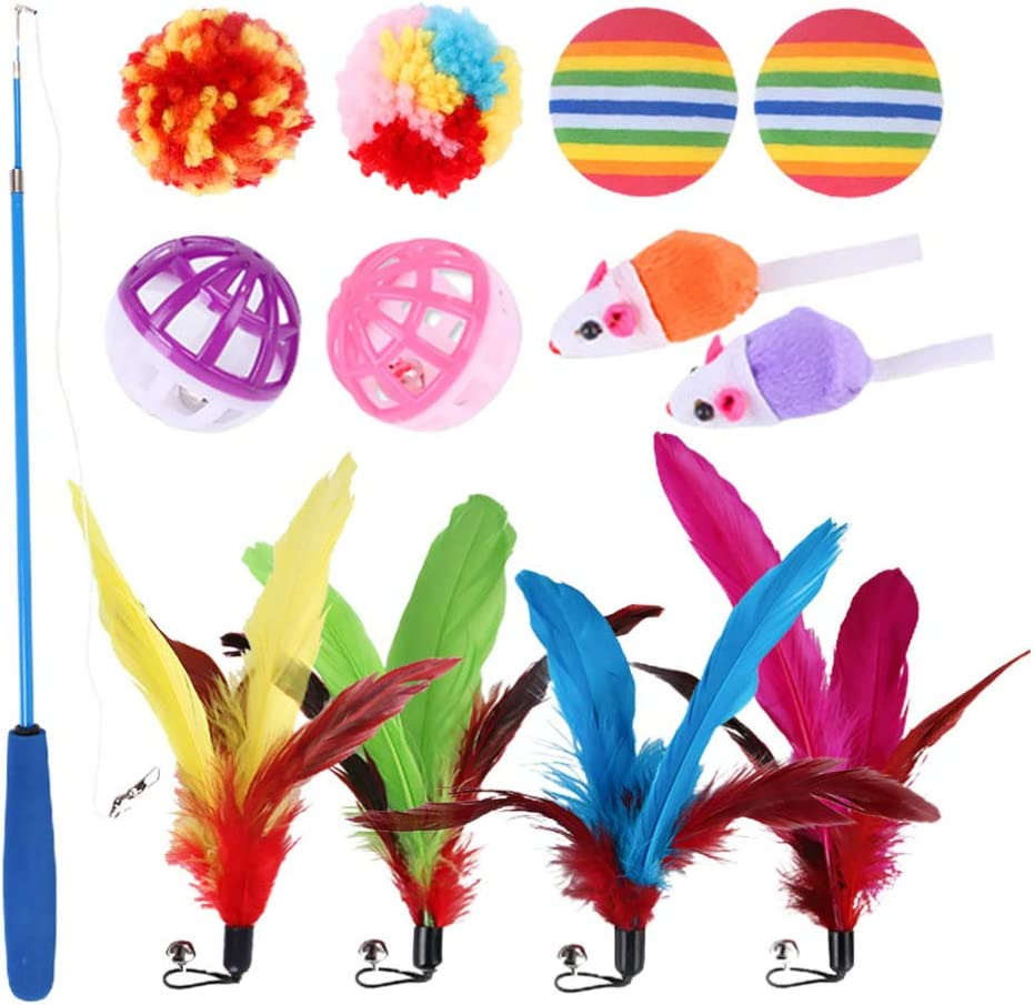 Balacoo 13pcs Super beauty product restock quality top Cat Teaser Toy Feather Wand Sale item Retractab Ball
