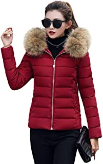 WUAI-Women Faux Fur Collar Hooded Coat Winter Warm Thickened Quilted Parka Puffer Jacket