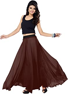 Women's Faux Georgette Regular Fit Plain Skirt (SGLS36_0001)