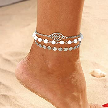 Asooll Boho Layer Turquoise Anklet Chain Silver Beaded 2 Layered Ankle Bracelets Beach Jewelry for Women and Girls