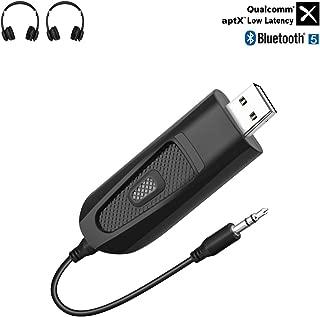 Carpuride AptX 低延迟蓝牙发射器,适用于电视 PC 笔记本电脑 PS4 任天堂开关,USB 蓝牙 5.0 音频适配器,带 3.5 毫米插孔,双链接,无线音频转换器仅适用于耳机扬声器
