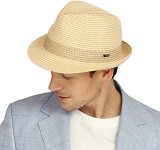 Jeff & Aimy Summer Straw Fedora Panama Beach Sun Hat Packable 56-62CM, 3 Adjustable Sizes