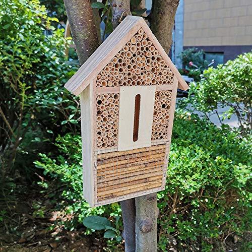 N/AA Insektenhotel aus Holz Insektenhaus Naturbelassenes Wetterfest Insekten Hotel Bausatz Nisthilfe und Schutz für Nützlinge Bienen Marienkäfer Schmetterlinge Florfliegen Käfer zum Aufhängen Garten