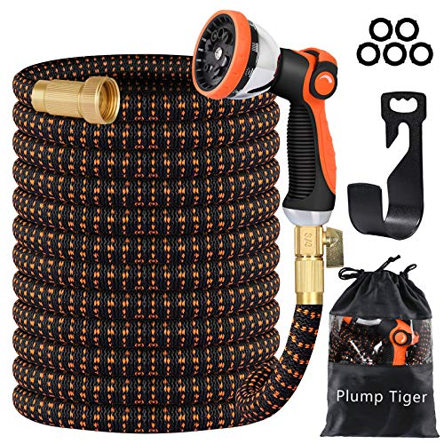 Plump Tiger Garden Hose with Durable Double-Layers Latex, Expandable Water Hose with 3/4 Solid Brass Connectors and 10 Function Zinc Spray Nozzle, Hose Pipe for Watering and Washing (25FT)