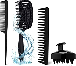 Amoued 4Pcs Hair Detangling Brush Set with Detangler Brush, Scalp Brush,Wide Tooth Comb and Tail Comb for Kinky Wavy Curly...