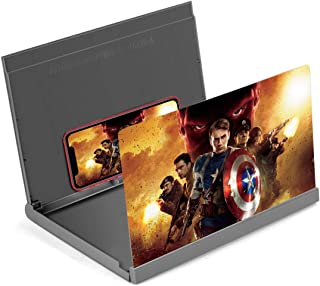 Screen Magnifier,  12 Foldable Smart Phone Screen Amplifier Projector Movie Video Enlarger Phone Holder Stand with 3D Screen Magnifying Amplifying Glass for All Smart Phone Model(Black)