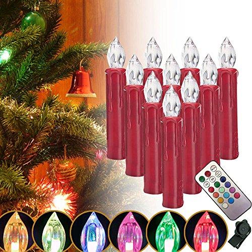 SZYSD 20Stk LED Rot Weihnachtskerzen Weihnachtsbeleuchtung Kerzen Lampen Kabellos RGB