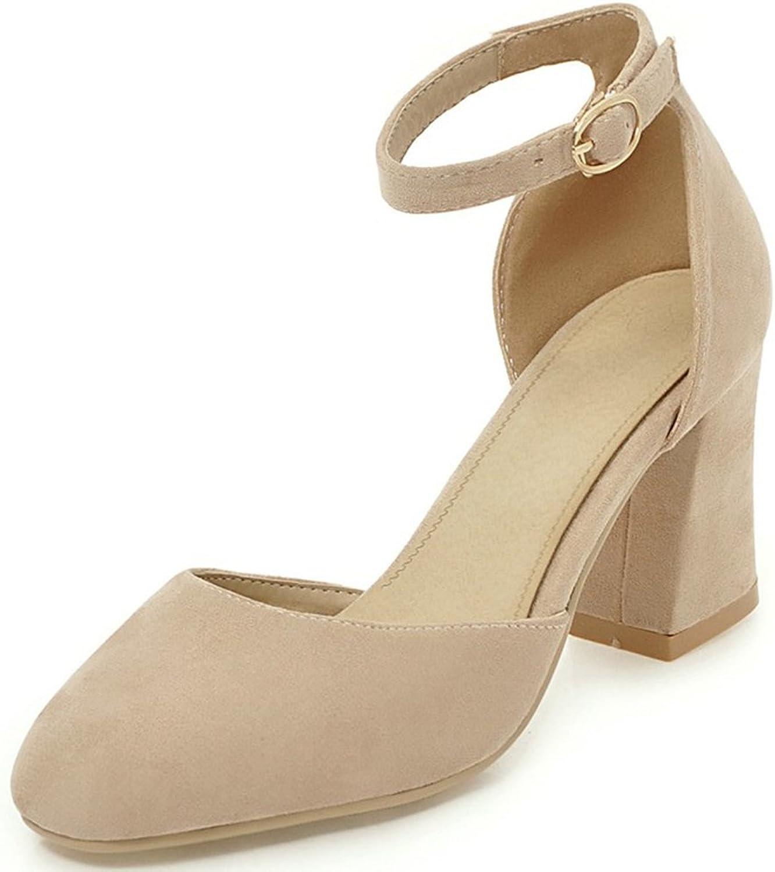 SaraIris Women's Chunky High Heel D-Orsay shoes Comfortable Dress Pumps