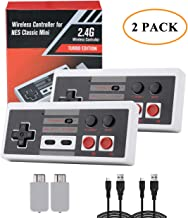 2 Pack NES Controller Wireless - DUTISON NES Wireless Gamepad for Mini NES Classic Edition - No-Wired Rechargeable Joypad with 2.4G Wireless Receiver and 2 USB Charging Cables