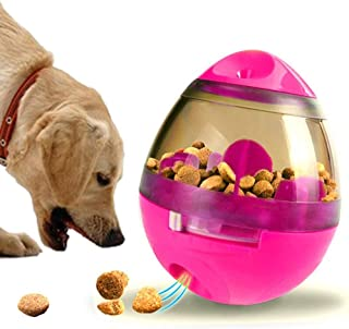 Dog Treat Dispenser Ball Toy, Interactive Treat-Dispensing Ball for Dogs & Cats: Increases IQ and Mental Stimulation, Tumbler Design Easy to Clean, Green, and Pink