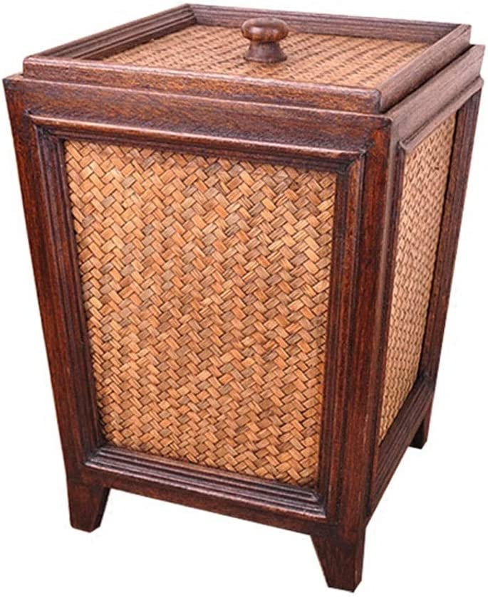 Albuquerque Mall ZHENZHUDAO7 Free shipping anywhere in the nation Indoor Trash Can Vintage Handmade Paper Bamboo Baske