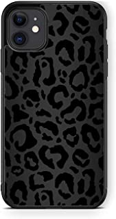 XUNQIAN Compatible for iPhone 11 Case, Black Leopard Cheetah Animal Skin Print Art Thin Soft Black TPU +Tempered Mirror Pr...