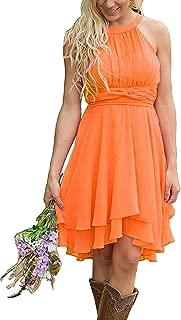 Women's A Line Halter Chiffon Wedding Guest Country Bridesmaid Dresses