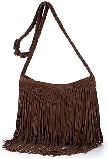 Women Suede Fringe Tassel Shoulder Bag Vintage Hippie Messenger Bag Cross Body Hobo Purse