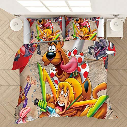 Juego de ropa de cama con funda nórdica 3D de Scooby Doo Movies, cama doble individual para adultos y adolescentes ropa de cama suave, cómoda y duradera textiles para el hogar-D_220x240cm (3 pcs)