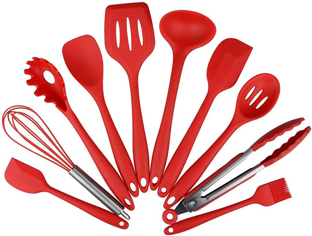 Enko,utensili da cucina in silicone, 10 pezzi, resistenti al calore antiaderenti Unknown