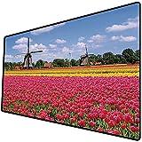 Tappetino per mouse da gioco [600x300 x 3 mm],Arredamento mulino a vento, tulipani rosa colorati freschi primavera campo decorativo tradizionale s Base antiscivolo 45x45cm