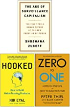 The Age of Surveillance Capitalism , Hooked , Zero To One Notes 3 Books Collection Set