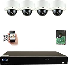 GW Security 8CH 4K NVR IP Security Camera System - 4 x HD 5.0 Megapixel (1920P/1080P) 2.8~12mm Varifocal Zoom 80ft IR PoE IP Dome Camera + 2TB Hard Drive - Support ONVIF Quick QR Code Remote Access
