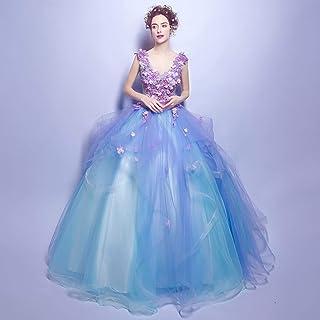 e838a61b6 W TT Mujer Elegante Tul de la Princesa Traje 16 Quinceanera Encaje Flor  Applique V Cuello Cenicienta