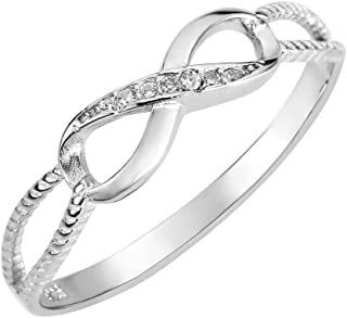 CloseoutWarehouse Cubic Zirconia Designer Aura Infinity Ring Sterling Silver (Color Options, Sizes 3-13)